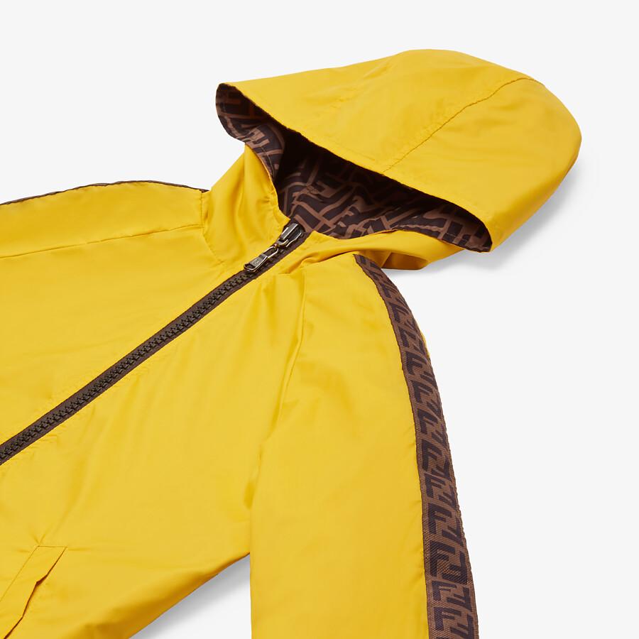FENDI NYLON JUNIOR JACKET - Curry yellow nylon reversible junior jacket with tobacco FF logo - view 3 detail