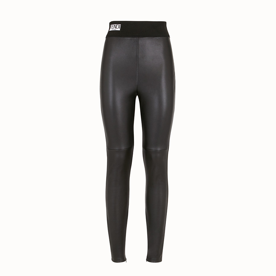 FENDI LEGGINGS - Black leather leggings - view 1 detail