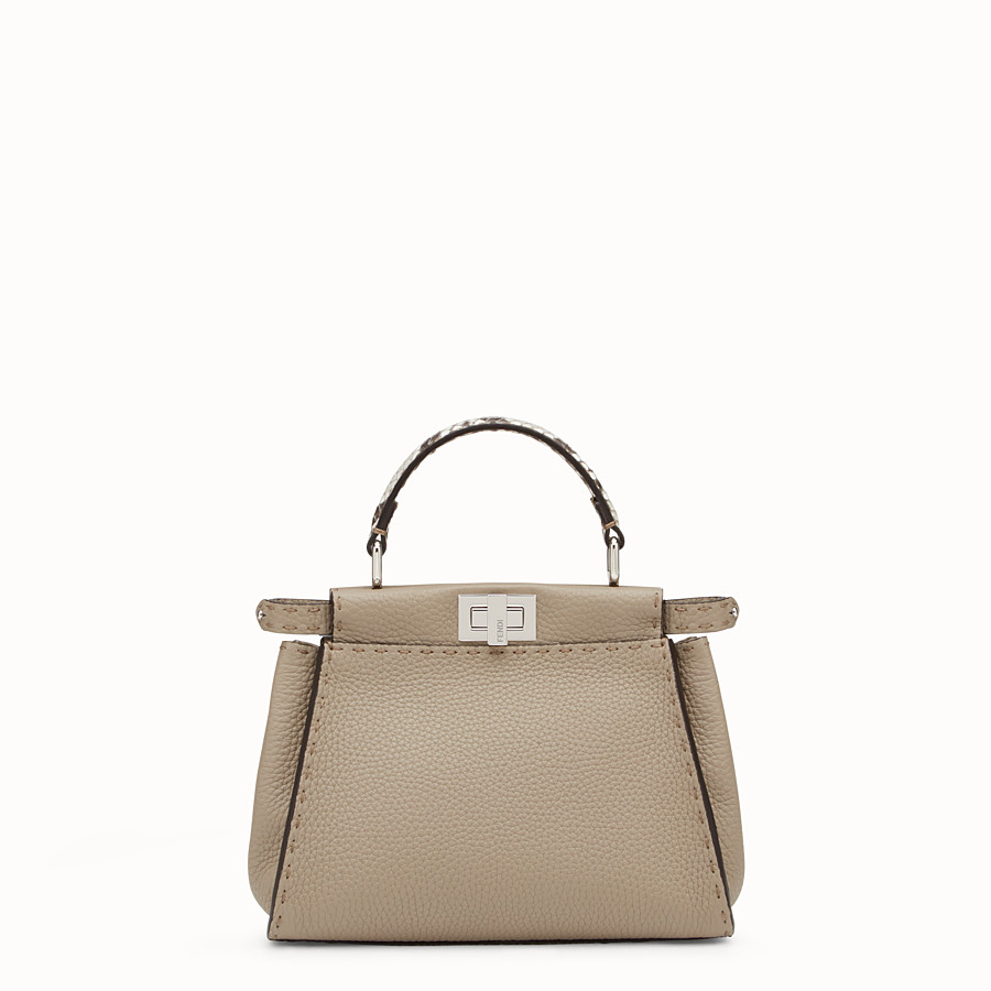 FENDI PEEKABOO ICONIC MINI - Dove-grey Selleria handbag - view 1 detail