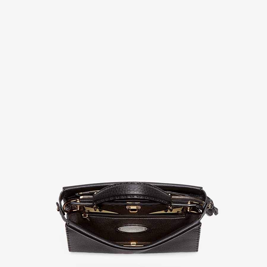 FENDI PEEKABOO ICONIC FIT MINI - Black leather bag - view 4 detail
