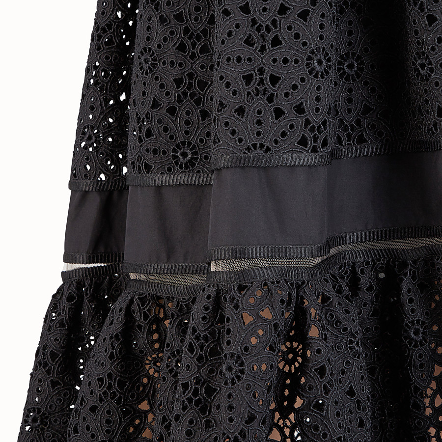 FENDI MIDI SKIRT - Black cotton skirt - view 3 detail