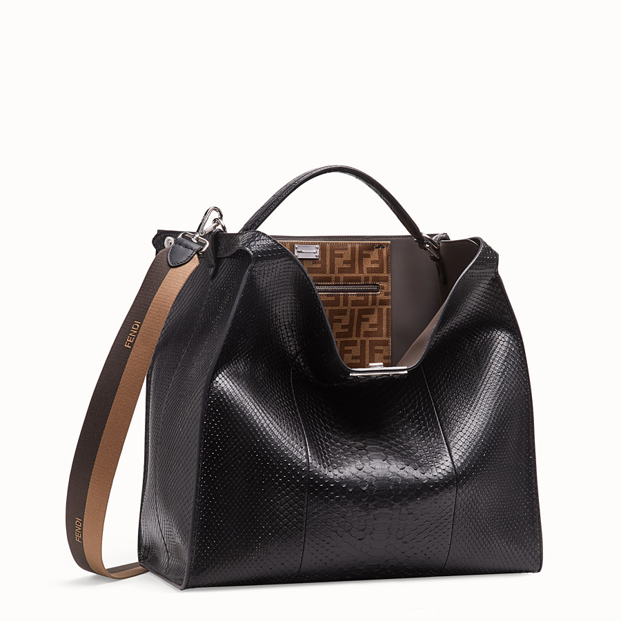 FENDI PEEKABOO X-LITE MEDIUM - Black python leather bag - view 3 detail