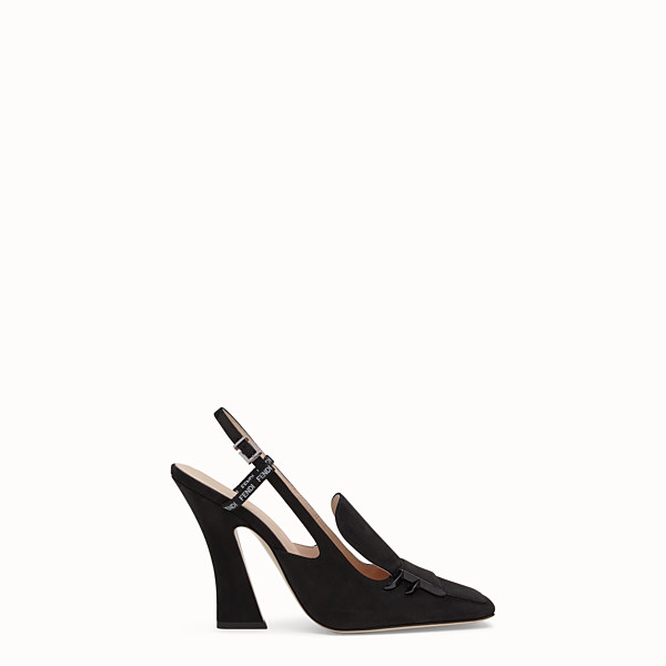 FENDI SLINGBACKS - Black nubuck slingbacks - view 1 small thumbnail