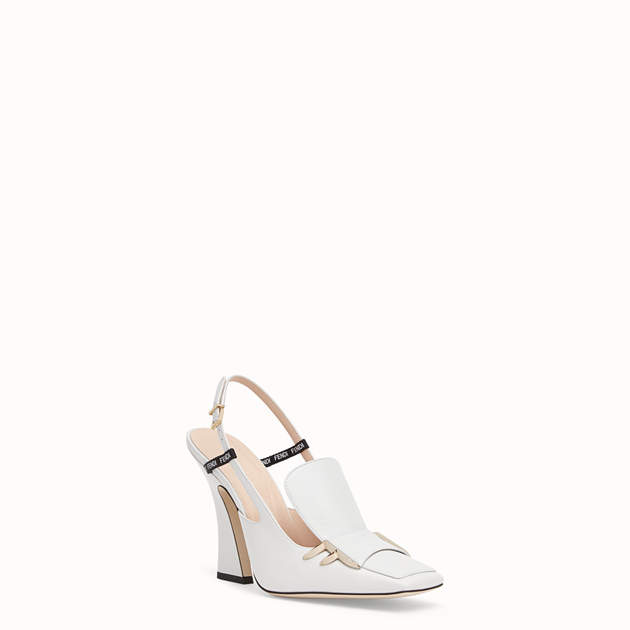 FENDI SLINGBACK - White nappa leather slingbacks - view 2 detail