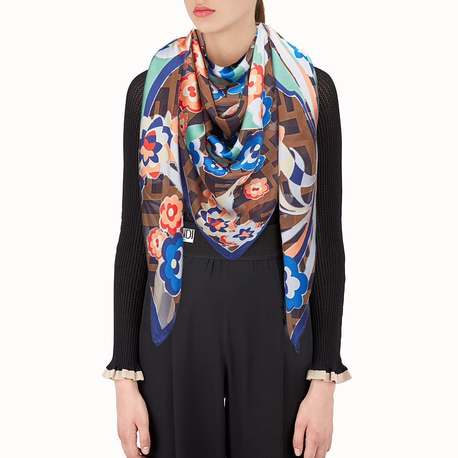 FENDI SHAWL - Multicolour silk and viscose shawl - view 3 detail