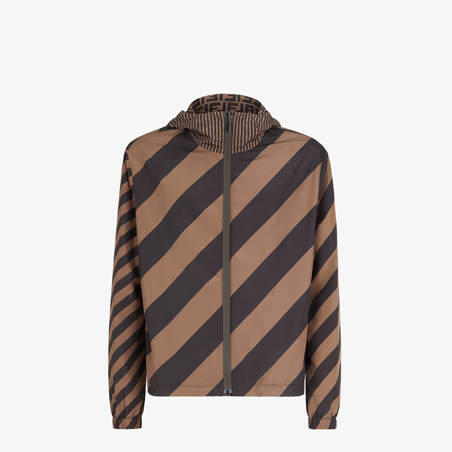 FENDI BLOUSON JACKET - Brown nylon windbreaker - view 4 detail