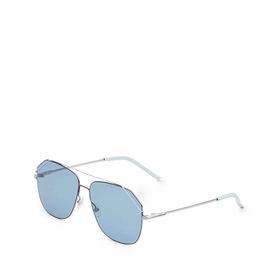 FENDI FENDIFIEND - Ruthenium and pale blue sunglasses - view 2 detail
