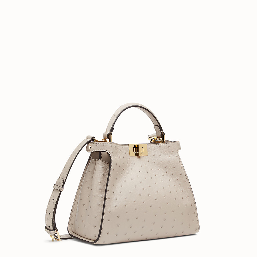 FENDI PEEKABOO ICONIC ESSENTIALLY - Grey ostrich leather bag - view 3 detail