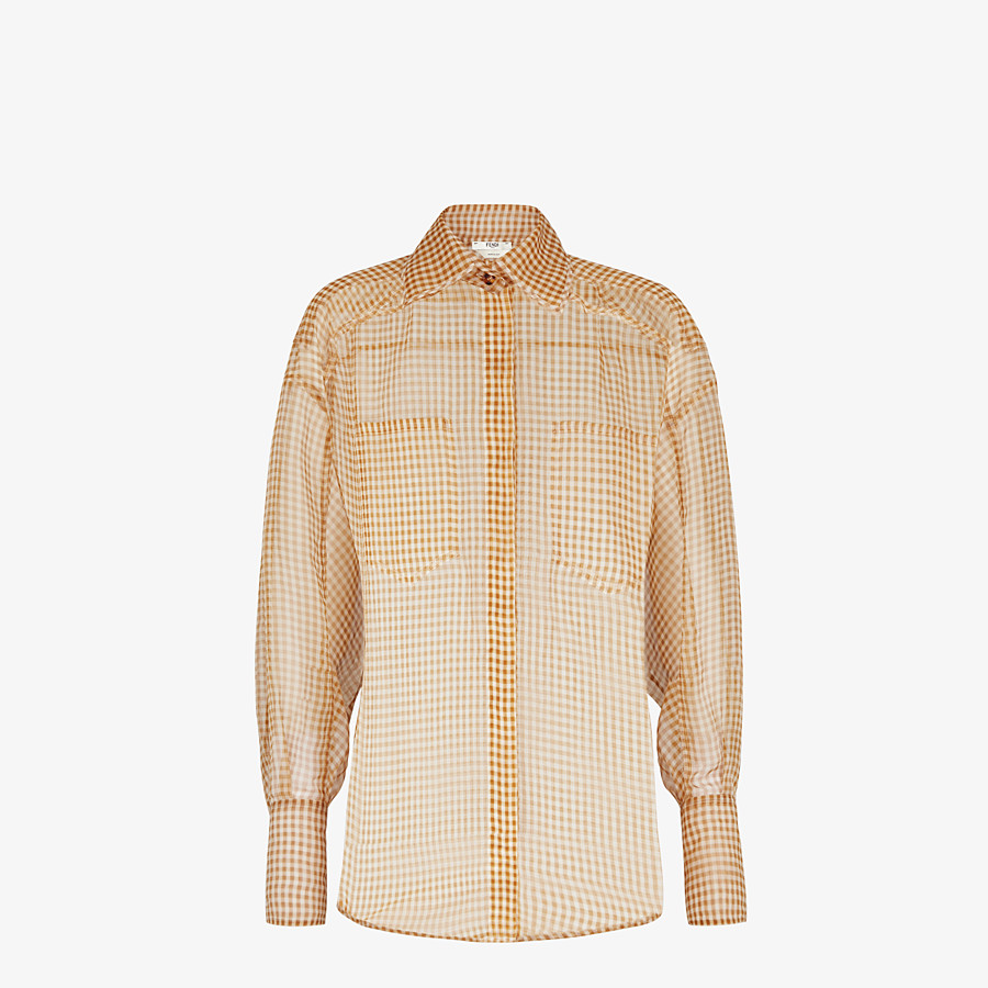 FENDI SHIRT - Check organza blouse - view 1 detail