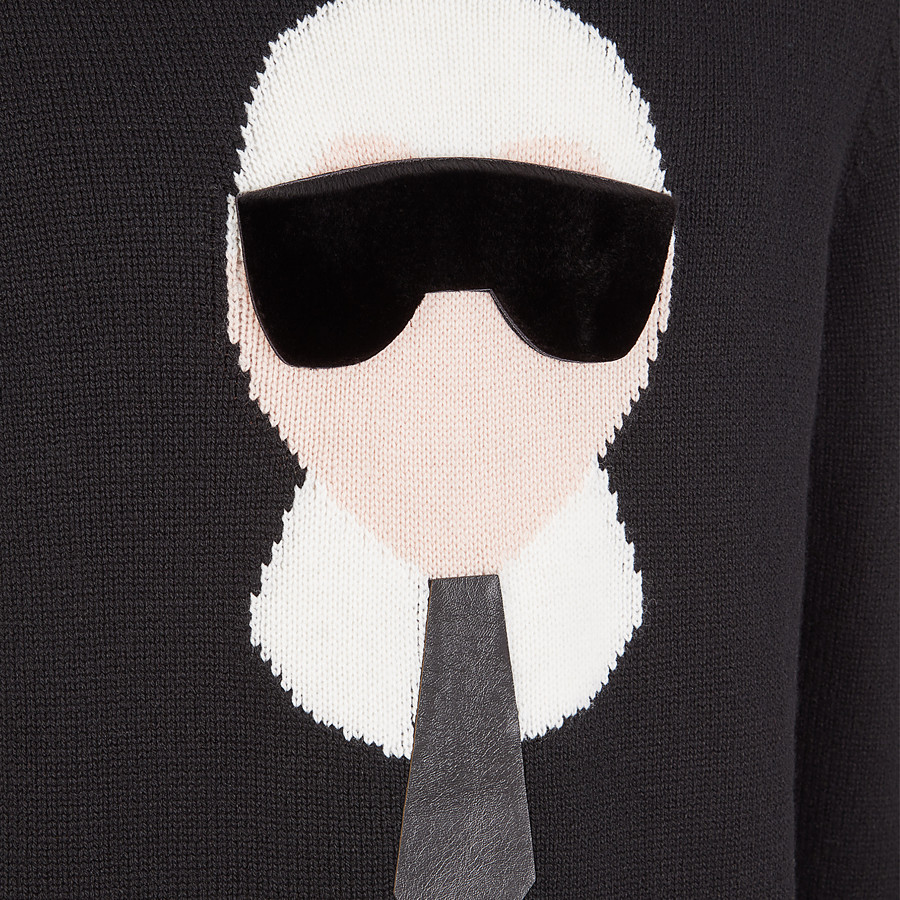 FENDI PULLOVER - Black cashmere sweater - view 3 detail