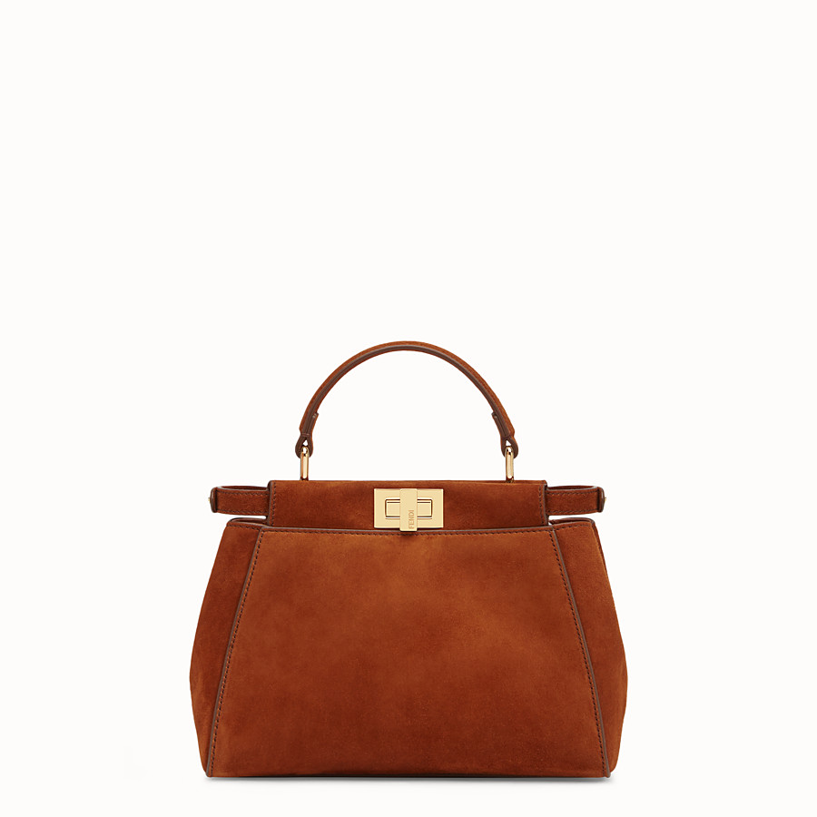 FENDI PEEKABOO ICONIC MINI - Borsa in suede marrone ed esotico - vista 3 dettaglio