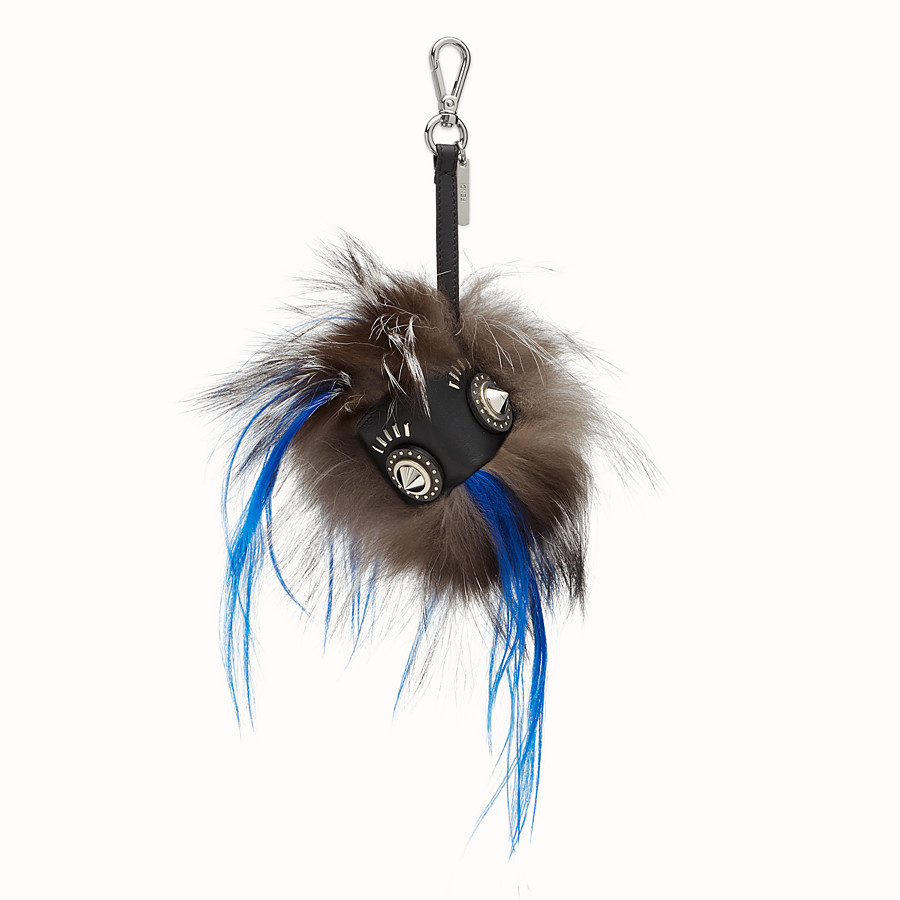 FENDI KEYRING - in fur in shades of black and white - view 1 detail