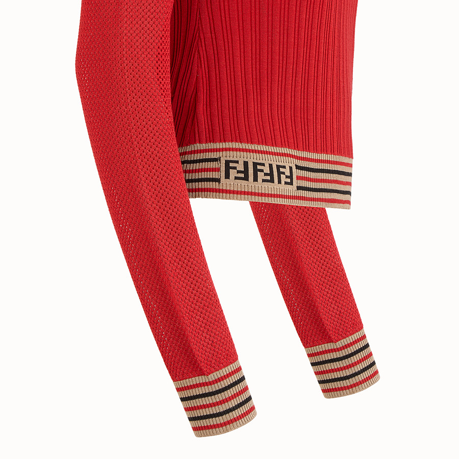 FENDI JUMPER - Red silk jumper - view 3 detail