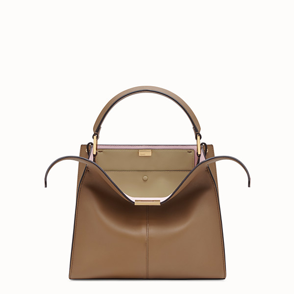 FENDI PEEKABOO X-LITE MEDIUM - Grey leather bag - view 1 small thumbnail