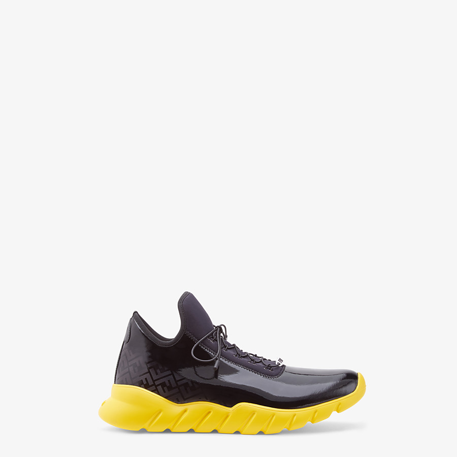 FENDI SNEAKERS - High-tops in black patent leather and fabric - view 1 detail