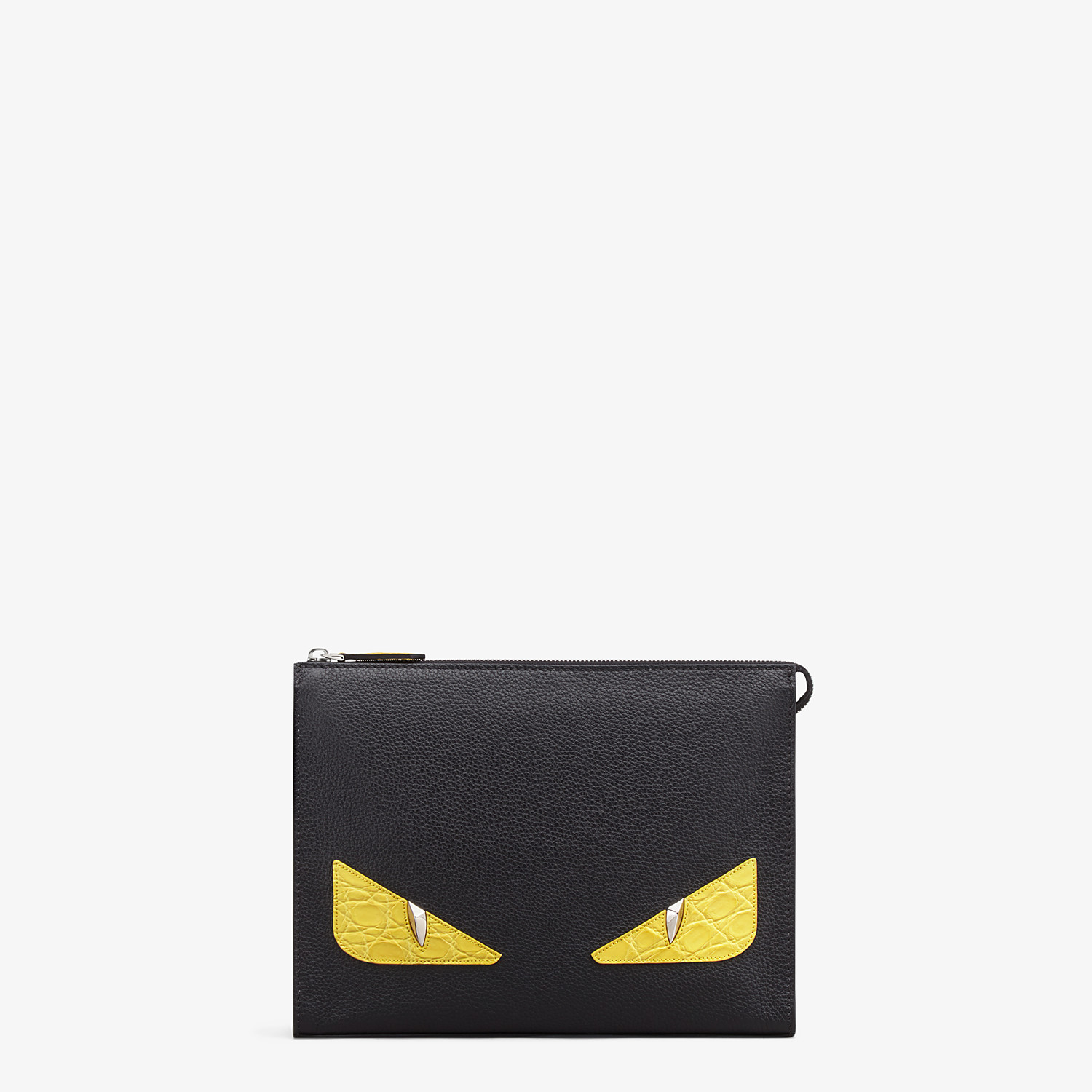 FENDI CLUTCH - Black leather slim pouch - view 1 detail