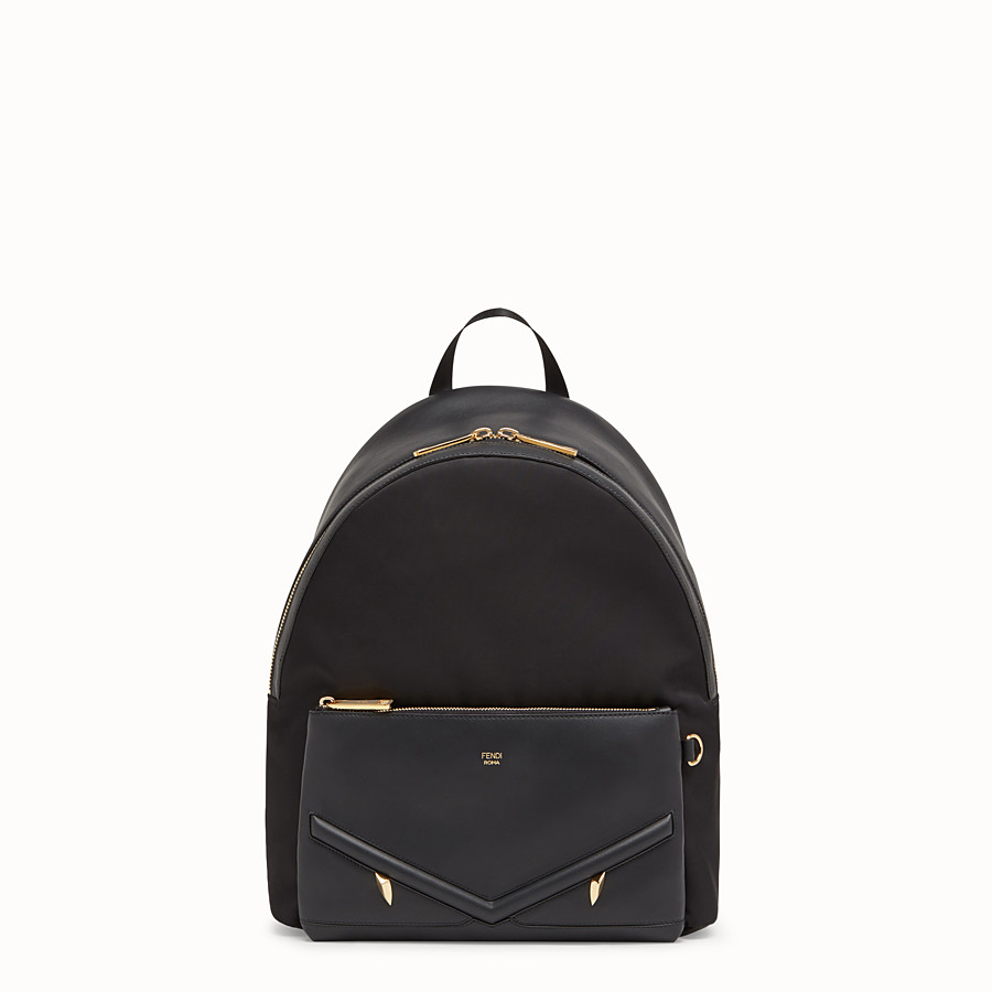 FENDI BACKPACK - Nylon and black leather backpack - view 1 detail