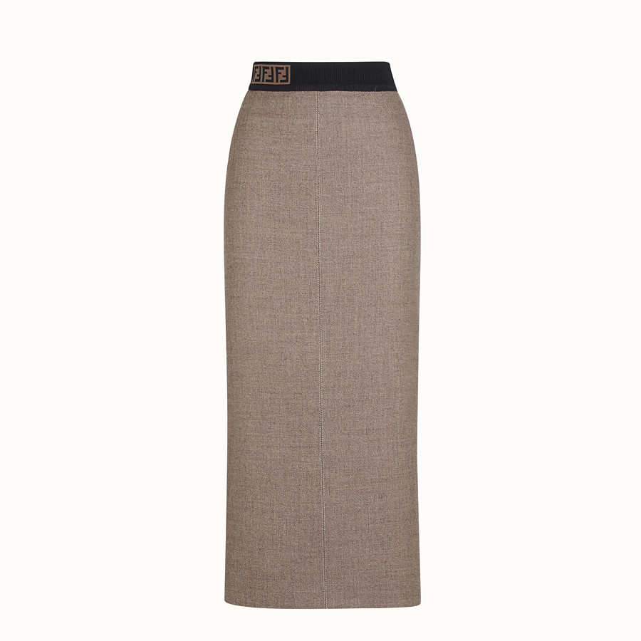 FENDI SKIRT - Grisaille wool skirt - view 1 detail