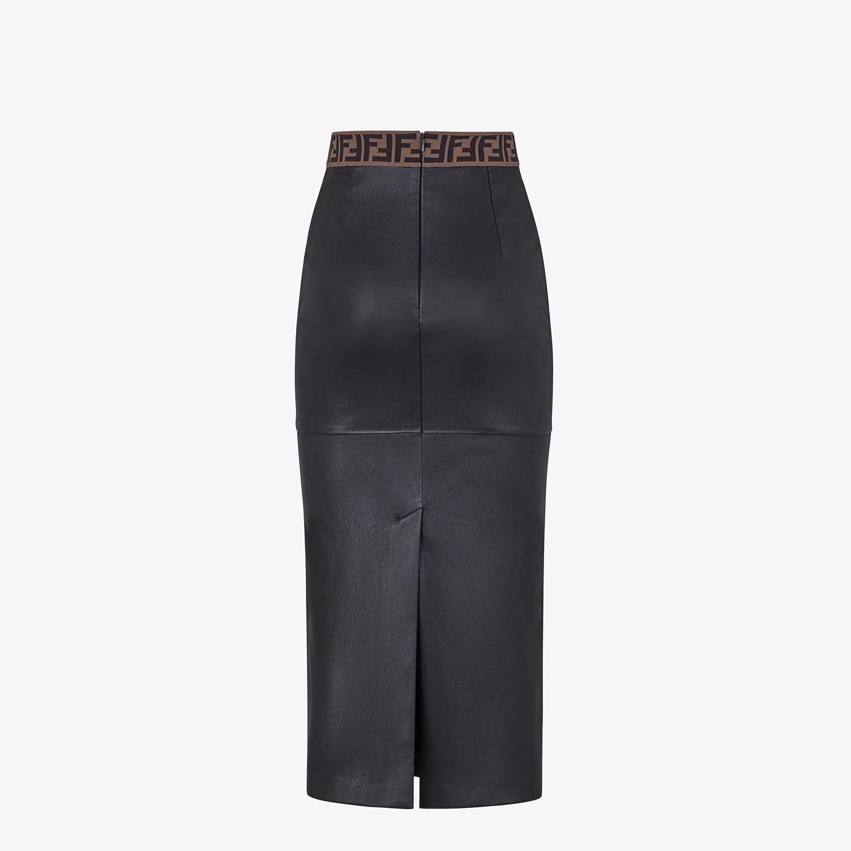 FENDI SKIRT - Black leather skirt - view 2 detail