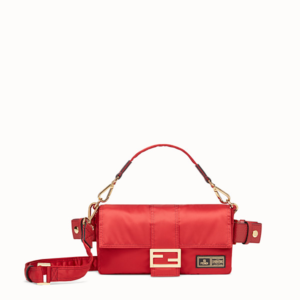 FENDI BAGUETTE FENDI AND PORTER - Tasche aus Nylon in Rot - view 1 small thumbnail