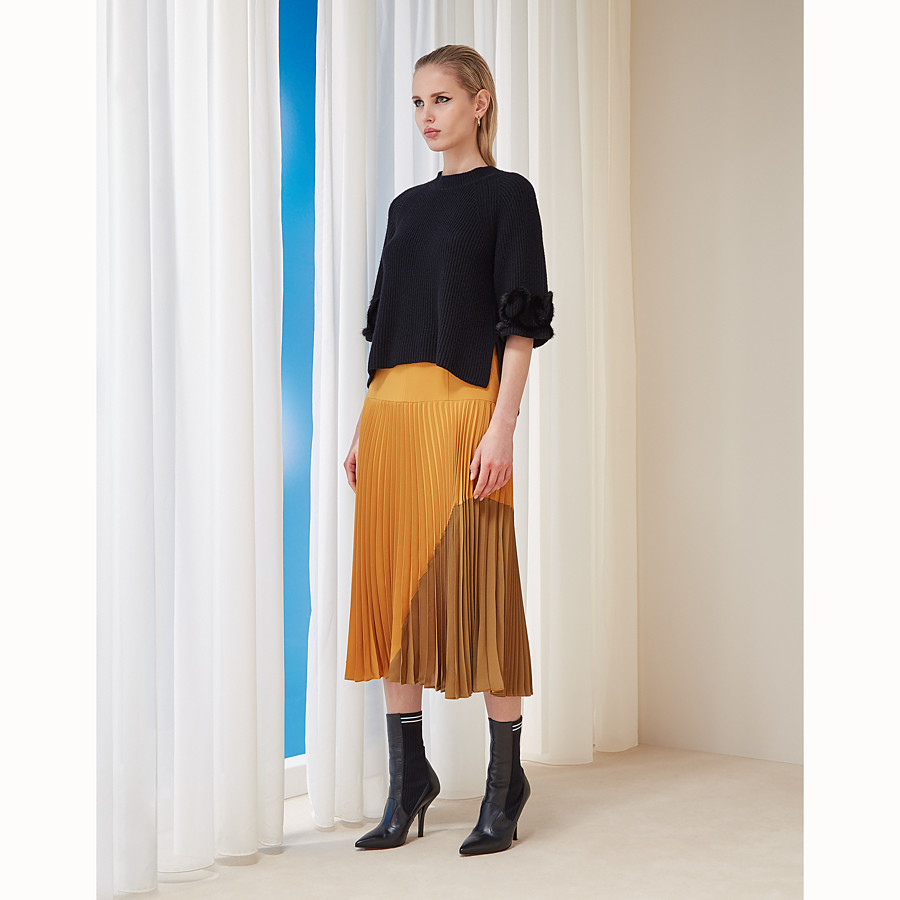 FENDI SKIRT - Orange silk skirt - view 4 detail
