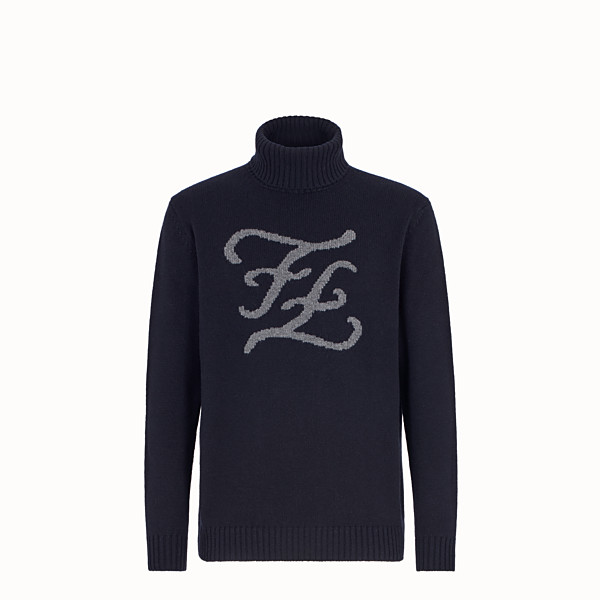 FENDI TURTLENECK - Blue cashmere jumper - view 1 small thumbnail