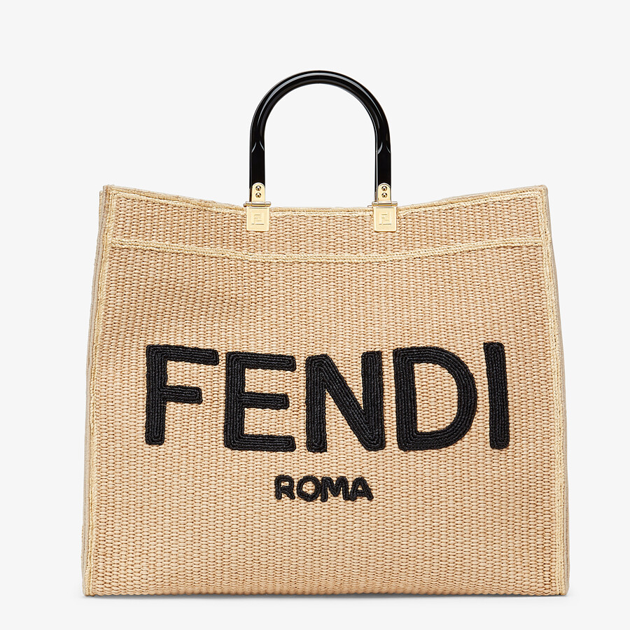 FENDI FENDI SUNSHINE LARGE - Woven straw shopper - view 1 detail