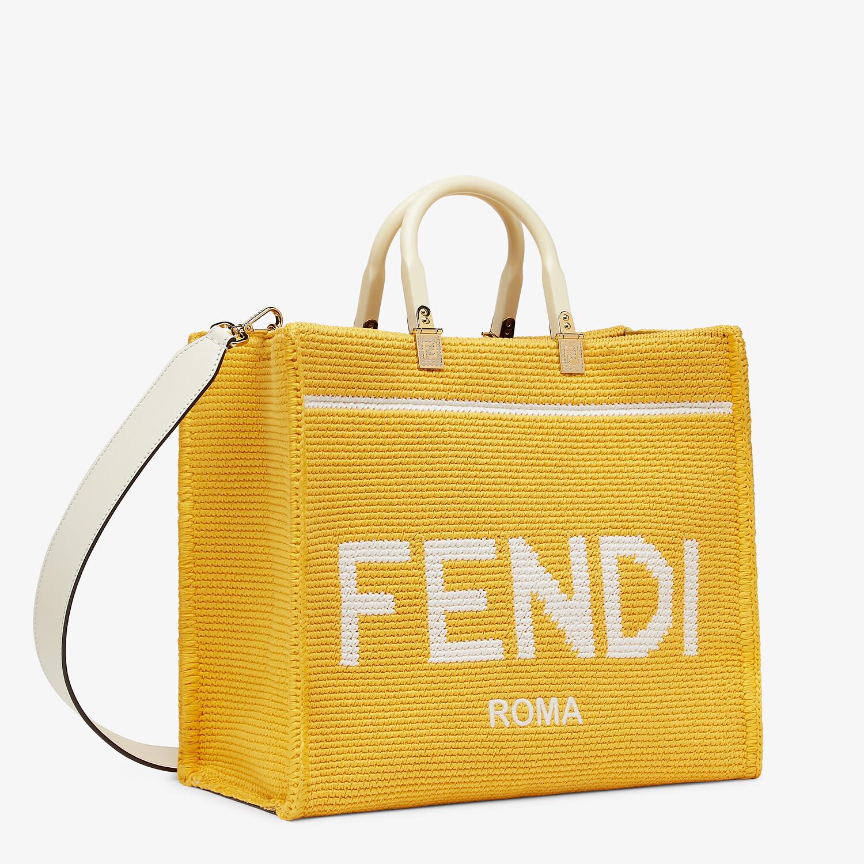 FENDI FENDI SUNSHINE MEDIUM - Yellow cotton crochet shopper - view 2 detail