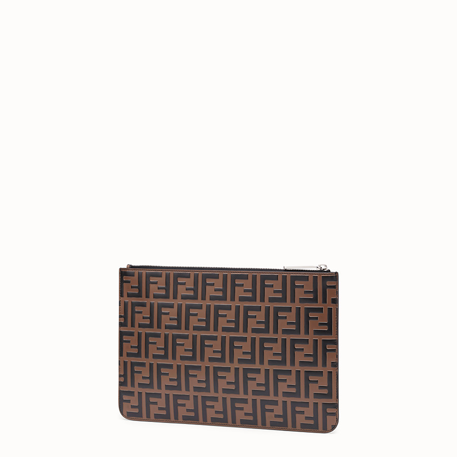 FENDI POUCH - Brown leather slim pouch - view 2 detail