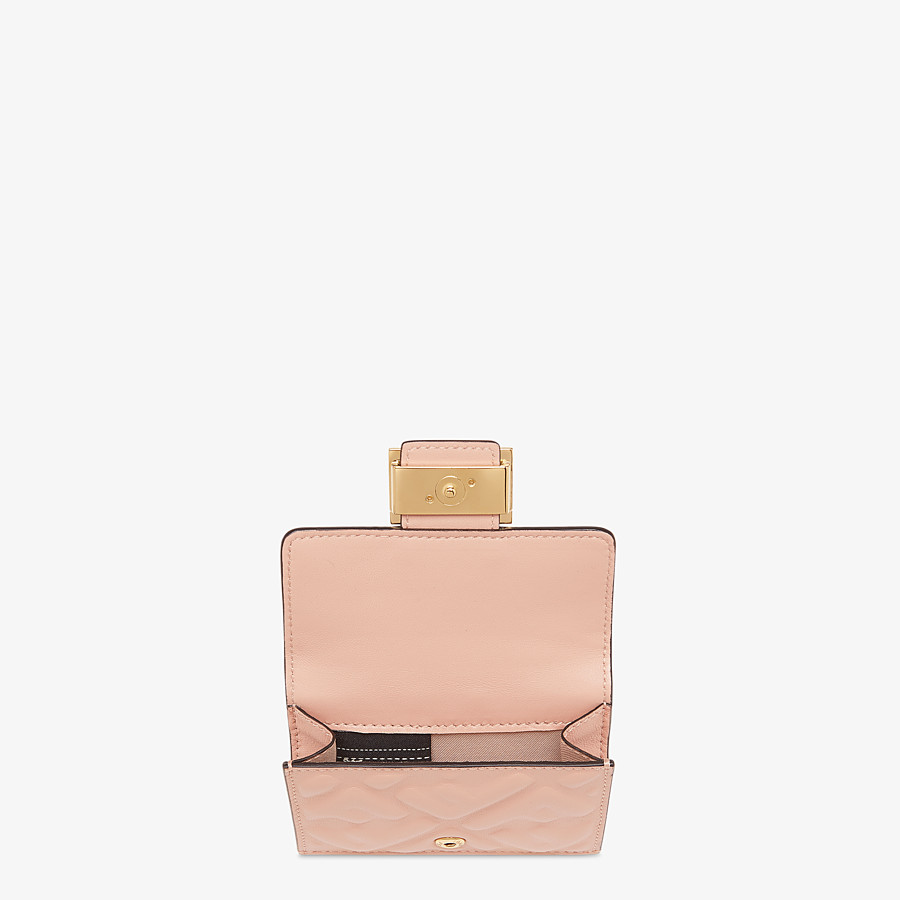 FENDI MICRO TRIFOLD - Pink nappa leather wallet - view 3 detail