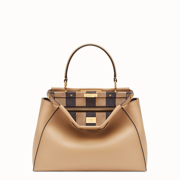 FENDI PEEKABOO ICONIC MEDIUM - Borsa in pelle marrone - vista 1 thumbnail piccola