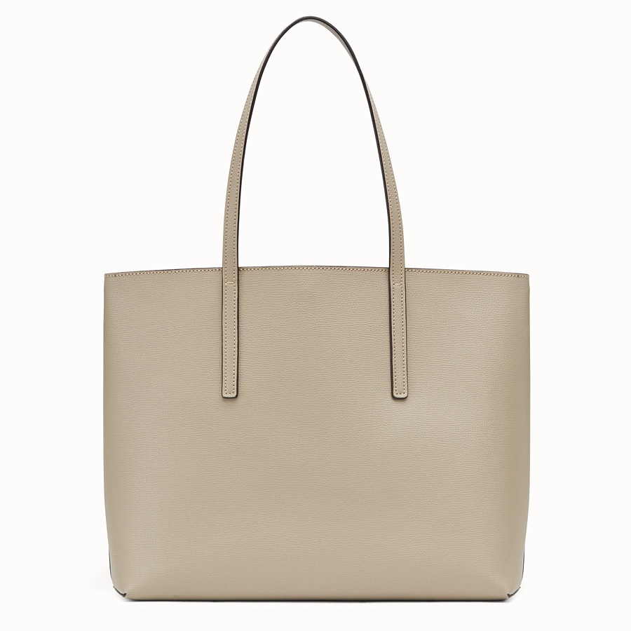 FENDI SHOPPING LOGO - Beige leather shopper bag - view 3 detail