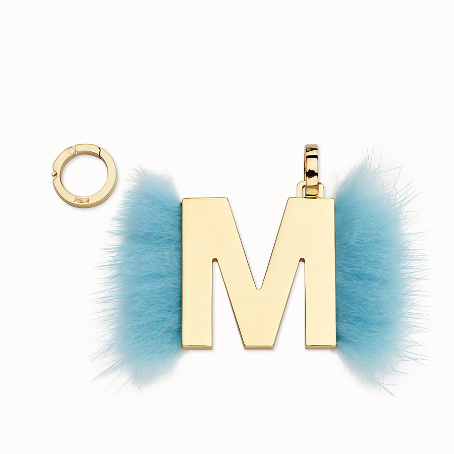 FENDI ABCLICK M - Pendant with light blue fur - view 1 detail