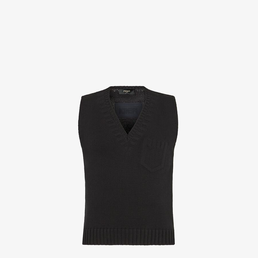 FENDI GILET - Black cotton and silk gilet - view 1 detail