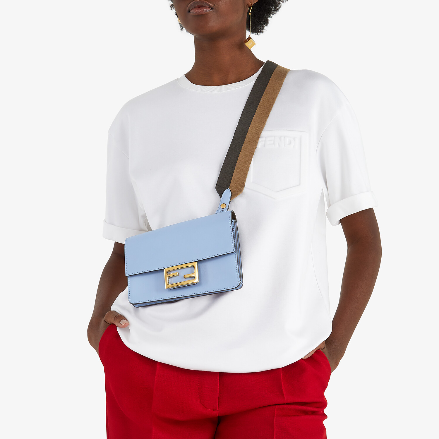 FENDI FLAT BAGUETTE - Light blue leather mini-bag - view 2 detail