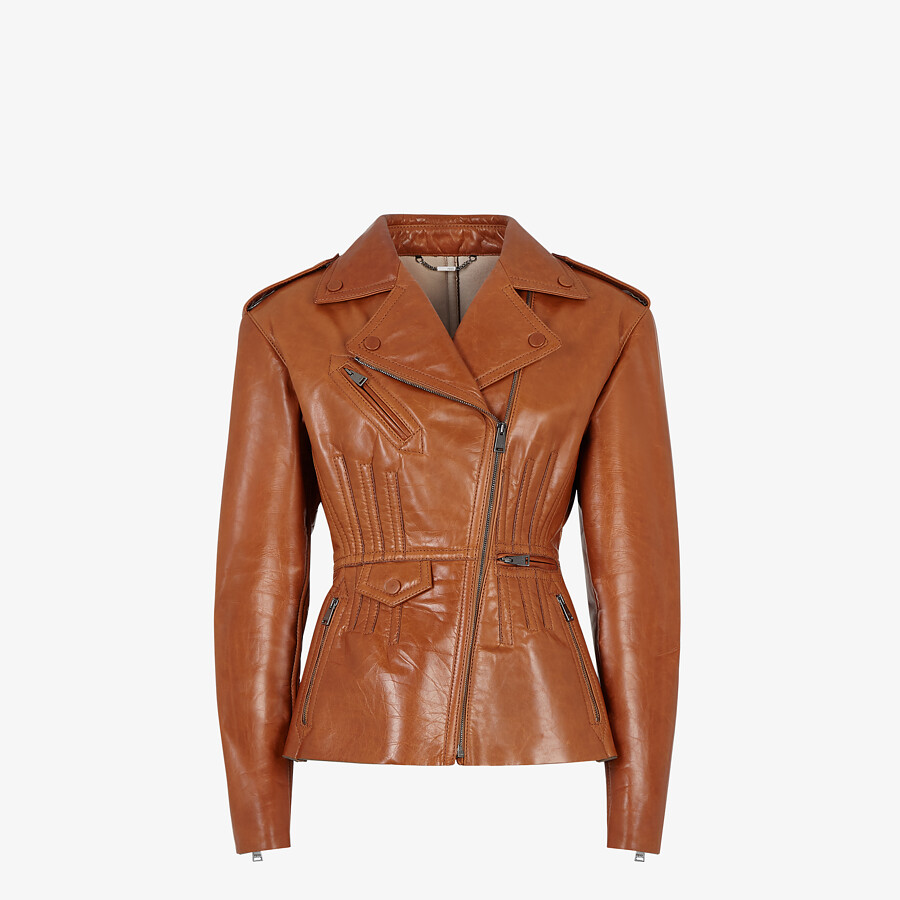 FENDI JACKET - Brown leather biker jacket - view 1 detail