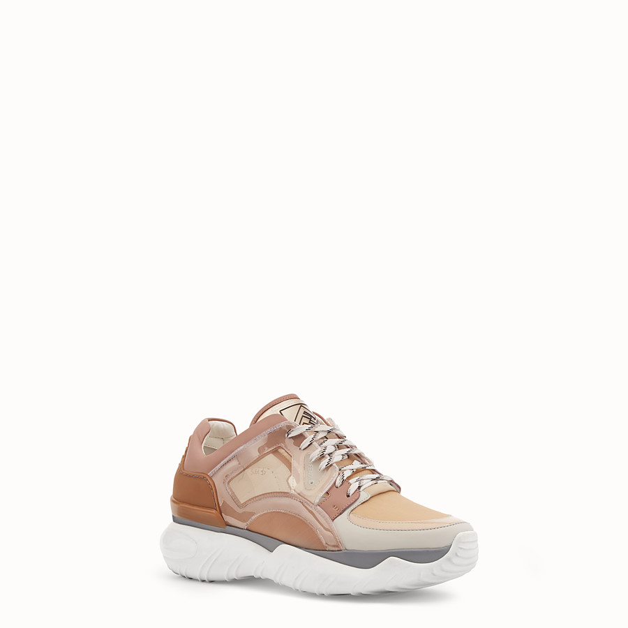 FENDI SNEAKERS - Beige technical mesh, leather and vinyl sneakers - view 2 detail