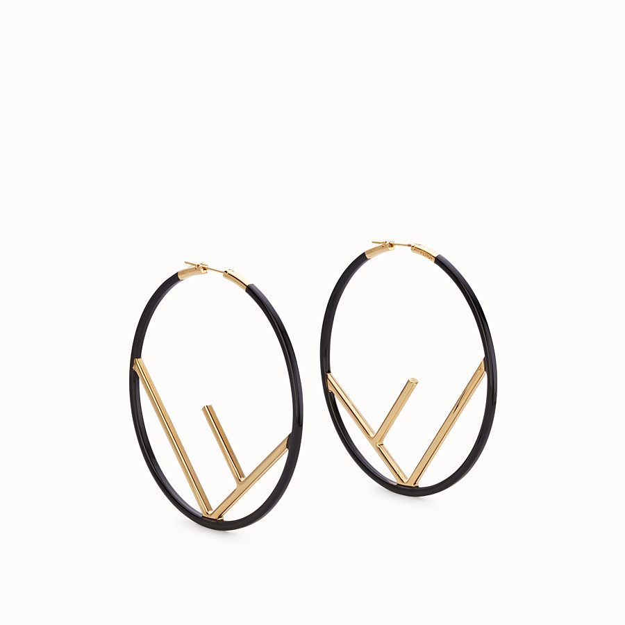 FENDI F IS FENDI EARRINGS - Gold and black coloured earrings - view 1 detail
