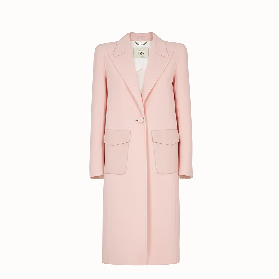 FENDI OVERCOAT - Pink wool overcoat - view 1 detail