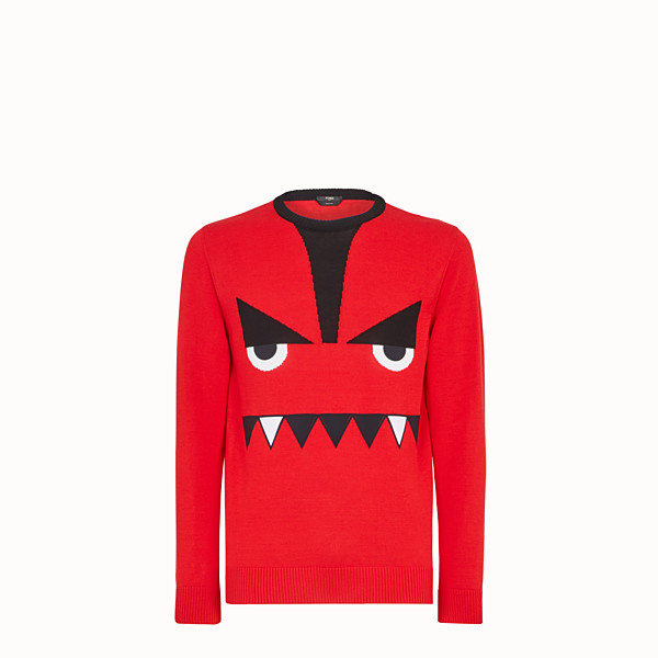 FENDI PULLOVER - Red cotton jumper - view 1 small thumbnail