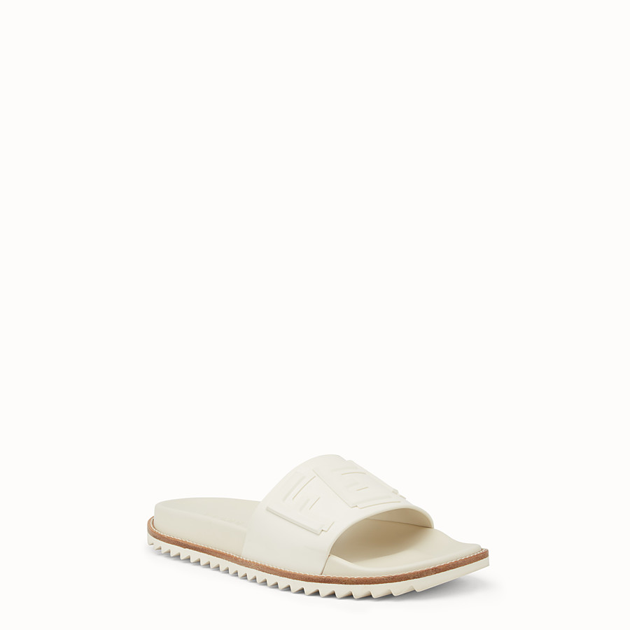 FENDI SLIDES - White rubber slides - view 2 detail