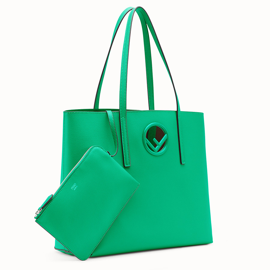 FENDI SHOPPING LOGO - Green leather shopper bag - view 2 detail