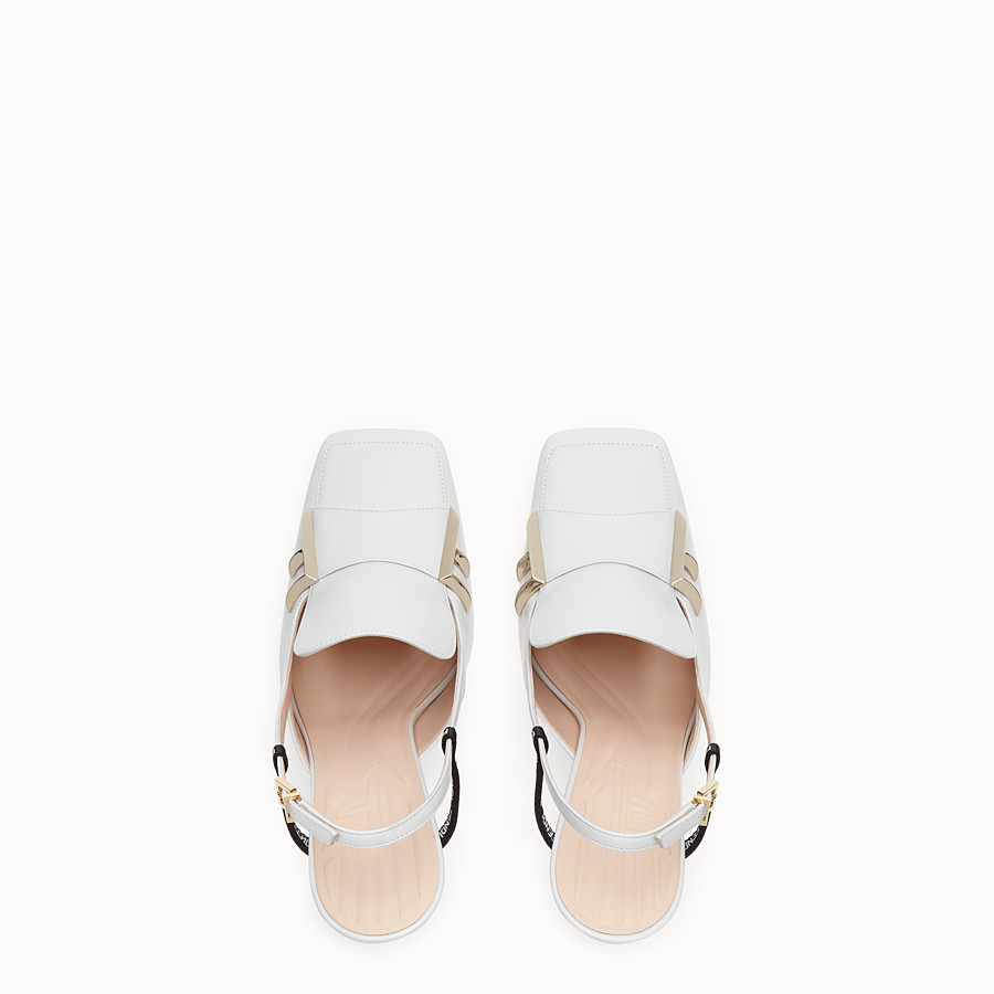 FENDI SLINGBACK - White nappa leather slingbacks - view 4 detail