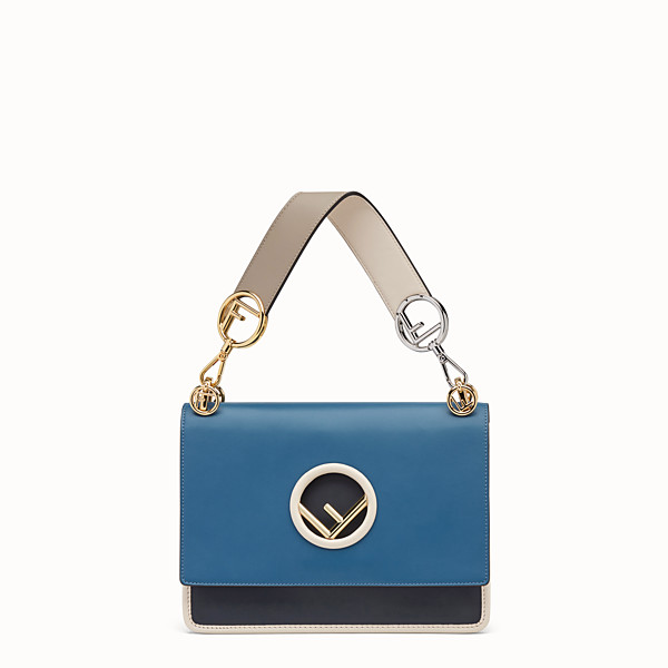 FENDI KAN I LOGO - Blue leather bag - view 1 small thumbnail