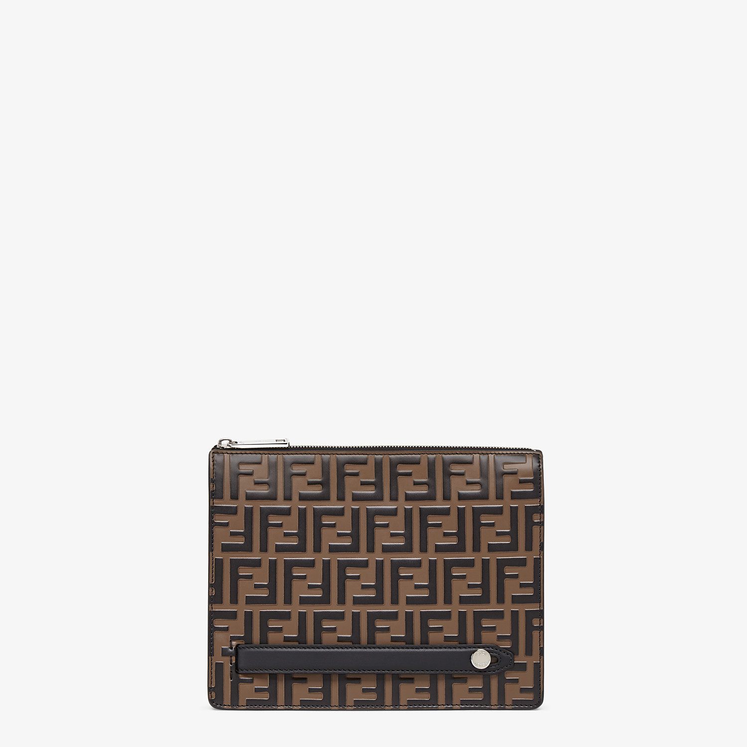 FENDI CLUTCH - Brown leather slim pouch - view 1 detail