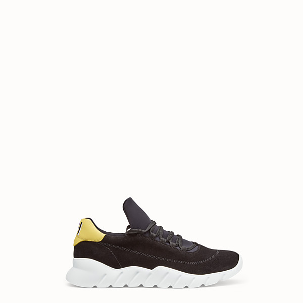 FENDI SNEAKERS - Black sporty suede low-tops - view 1 small thumbnail