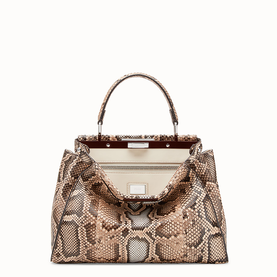FENDI PEEKABOO REGULAR - Beige python bag - view 1 detail