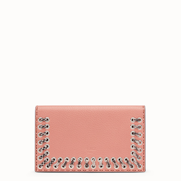 FENDI CLUTCH WALLET - Pink leather wallet with exotic details - view 1 small thumbnail