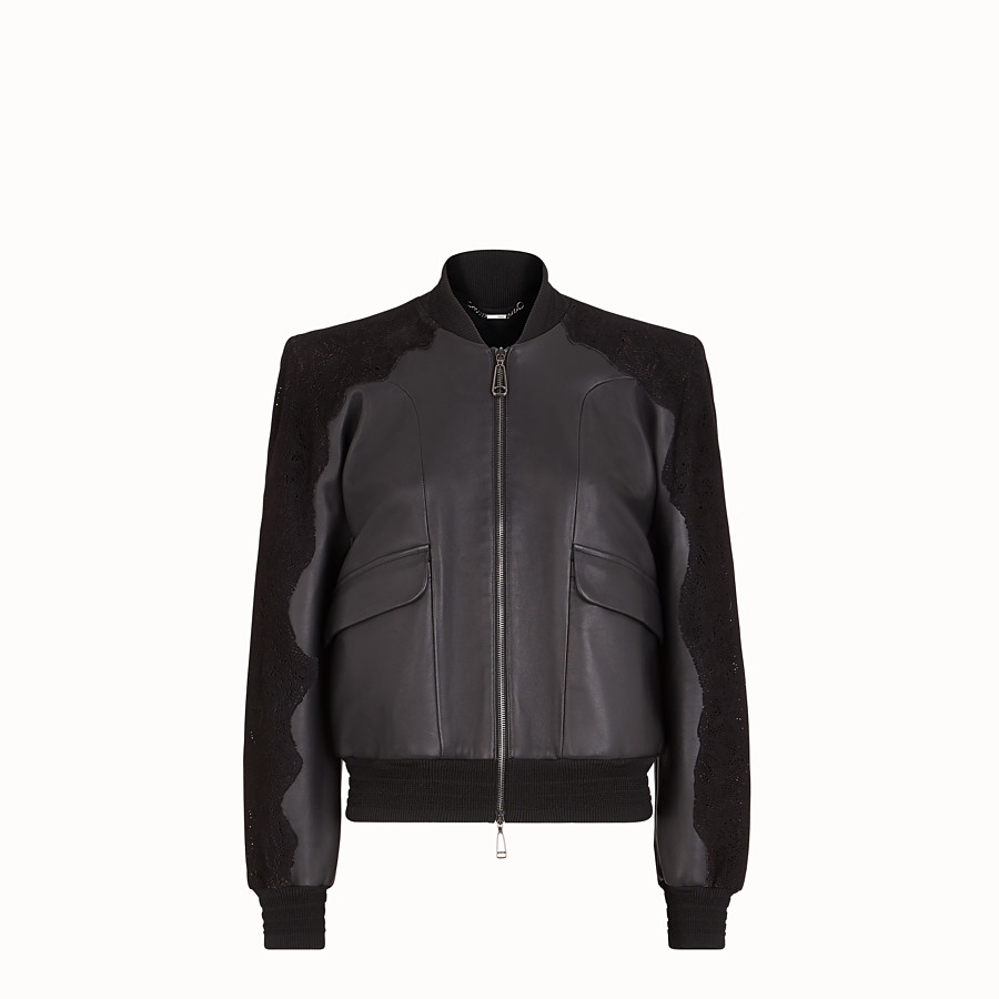 FENDI JACKET - Black leather bomber - view 1 detail