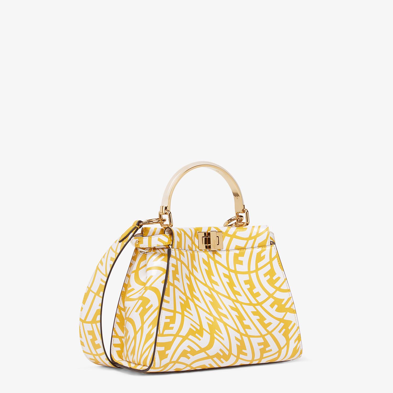 FENDI PEEKABOO MINI - Yellow and white FF Vertigo leather bag - view 3 detail